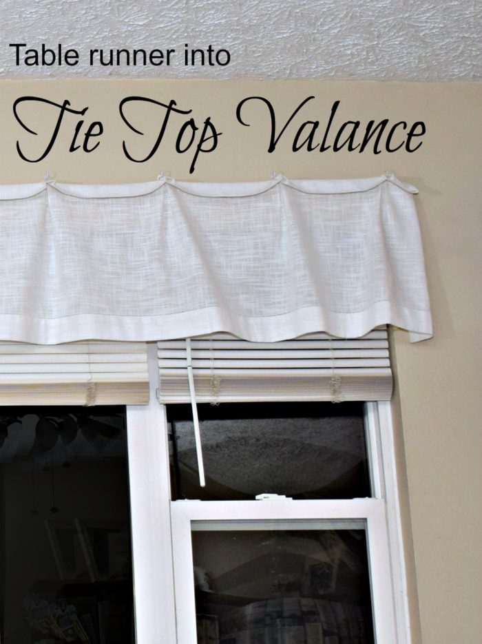 How to make an easy diy valance with a linen table runner!