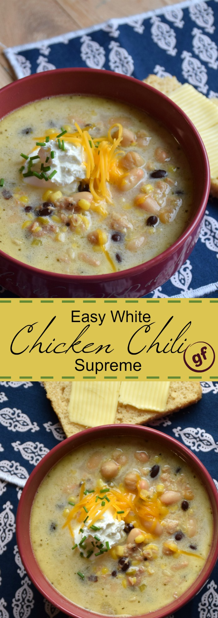 Recipe for easy white chicken chili supreme with black beans, corn, veggies - naturally gluten free