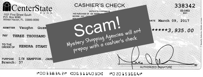 Spotting a mystery shopper scam. Mystery shopping agencies will never prepay, nor will they send you a cashier's check.
