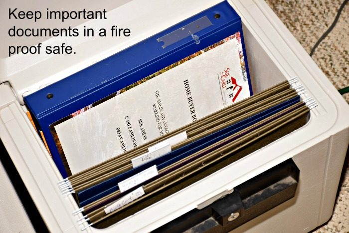 "Use a fireproof safe for creating a simple filing system. This is where you want to keep your ""forever"" documents."