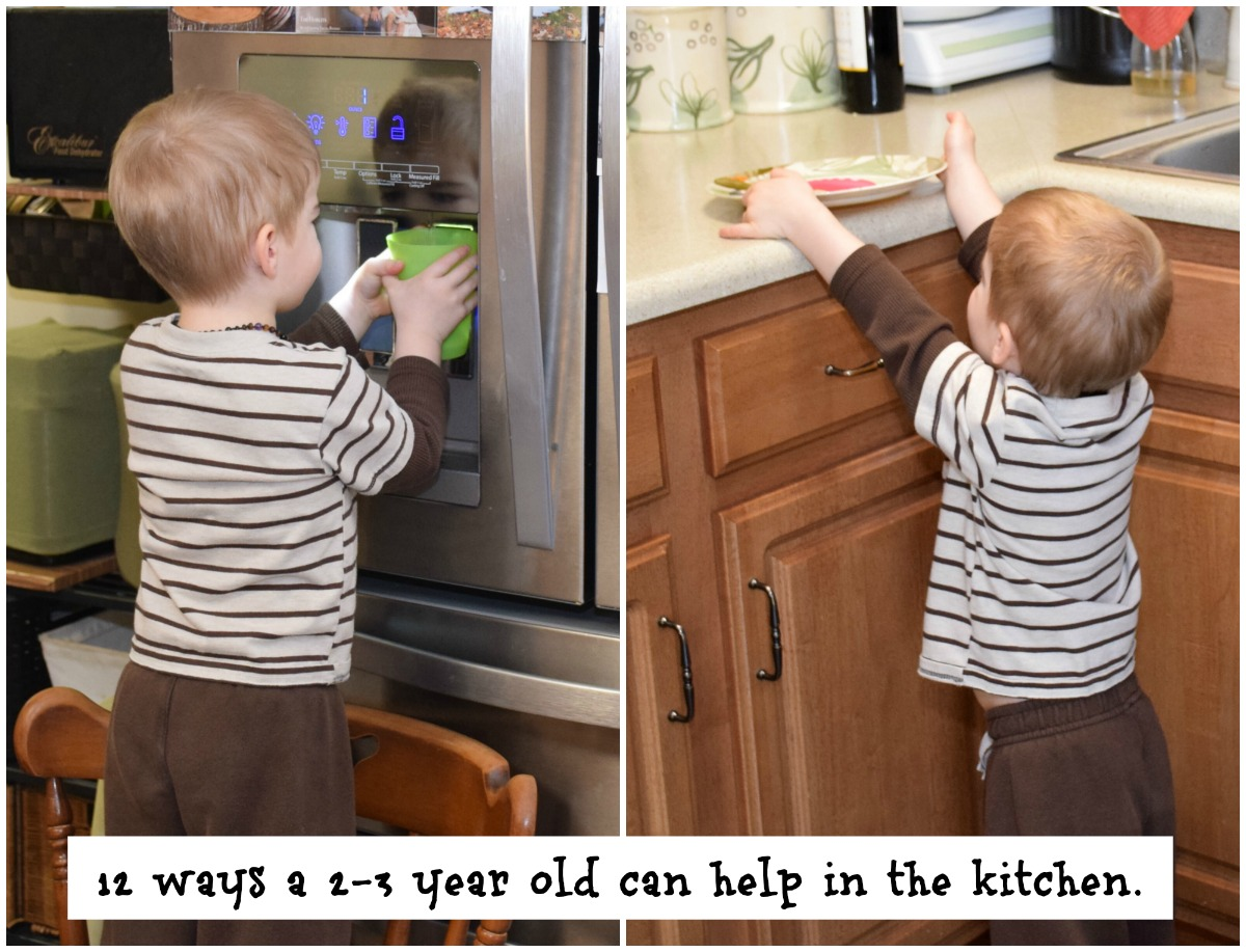 36 simple chores for 2 and 3 year olds. 12 easy tasks for toddlers in the kitchen.