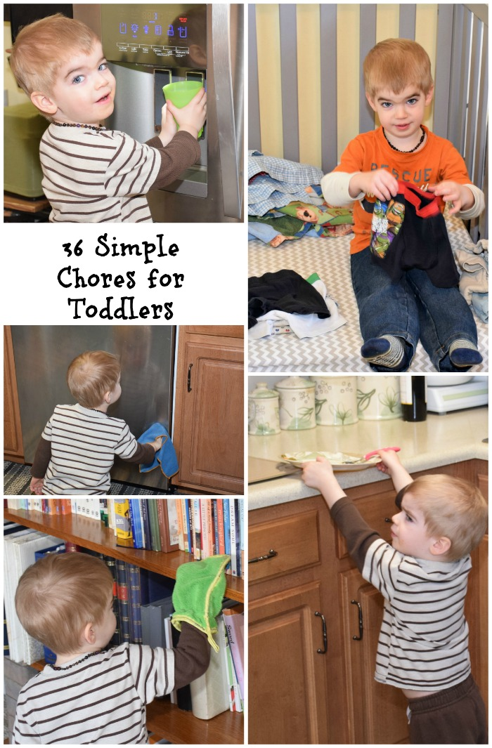 36 simple chores for 2 and 3 year olds. Chore list for toddlers around the house.