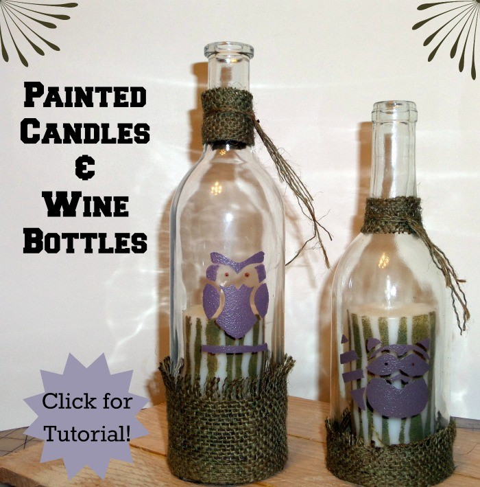 Painted piller candles and wine bottles. Fun and whimsey tutorial