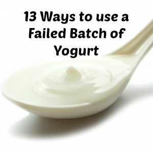 13 great ways to use up failed yogurt. Do I really want my next batch to turn out perfect? :)