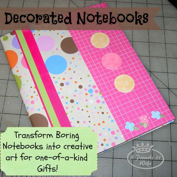 Use scrap papers, ribbons and stickers to create fun, one of a kind, personalized notebooks to use or give as gifts!