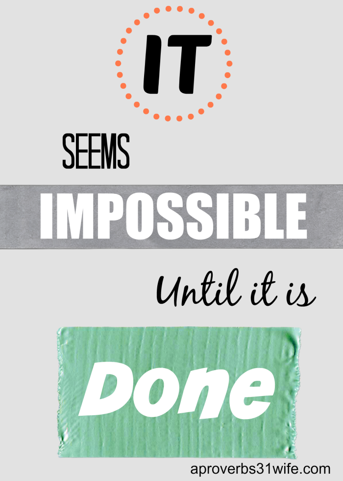 It seams impossible until it is done.