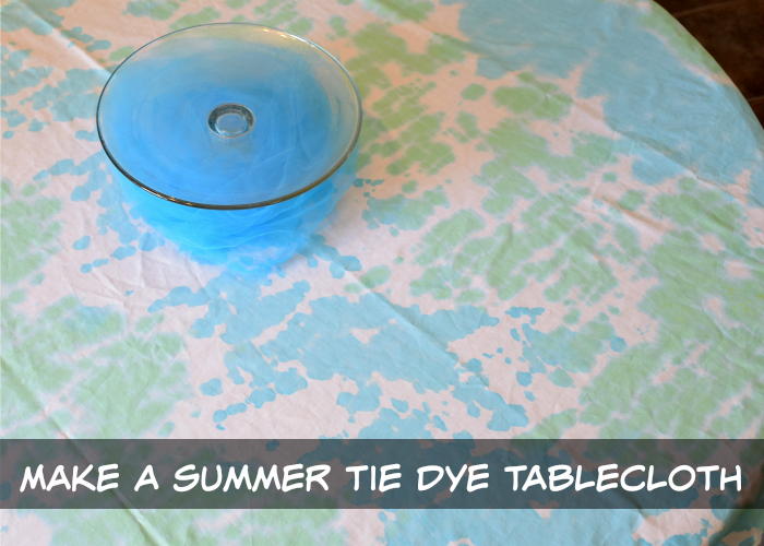 How to make a tie dyed summer tablecloth with blues and greens.