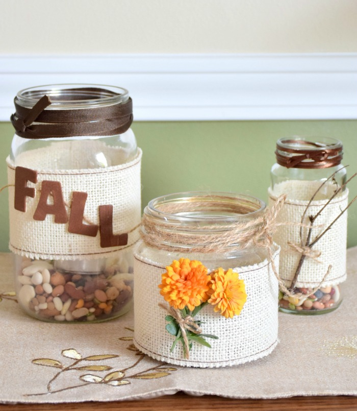 Burlap mason jars and fall. Cute mason jars with burlap for fall decor.
