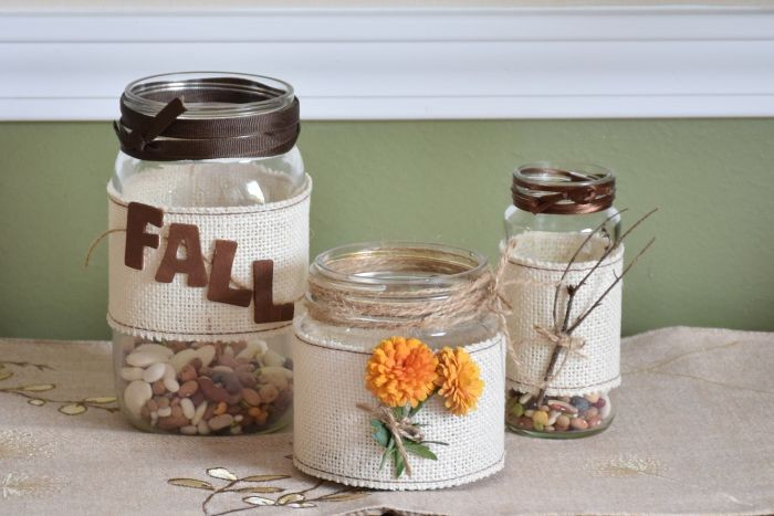 Burlap Mason Jars and Fall