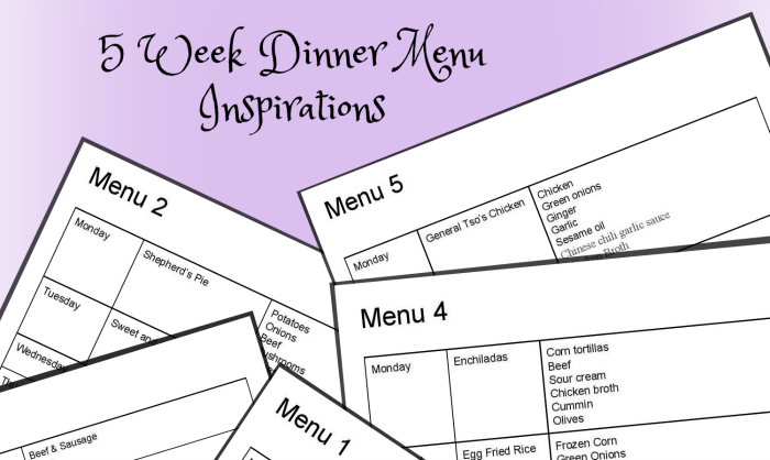 5 Weekly dinner menu ideas