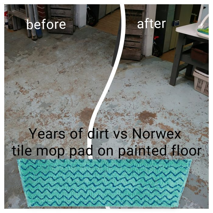 Norwex tile mop pad before and after